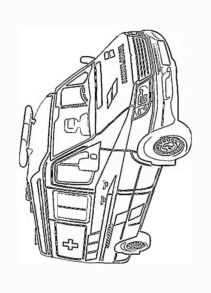 Раскраски машинки скорой помощи