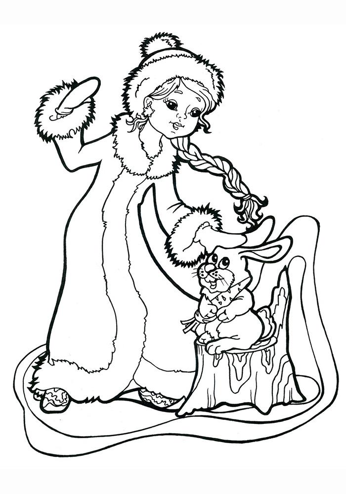 Снегурочка гладит зайчика